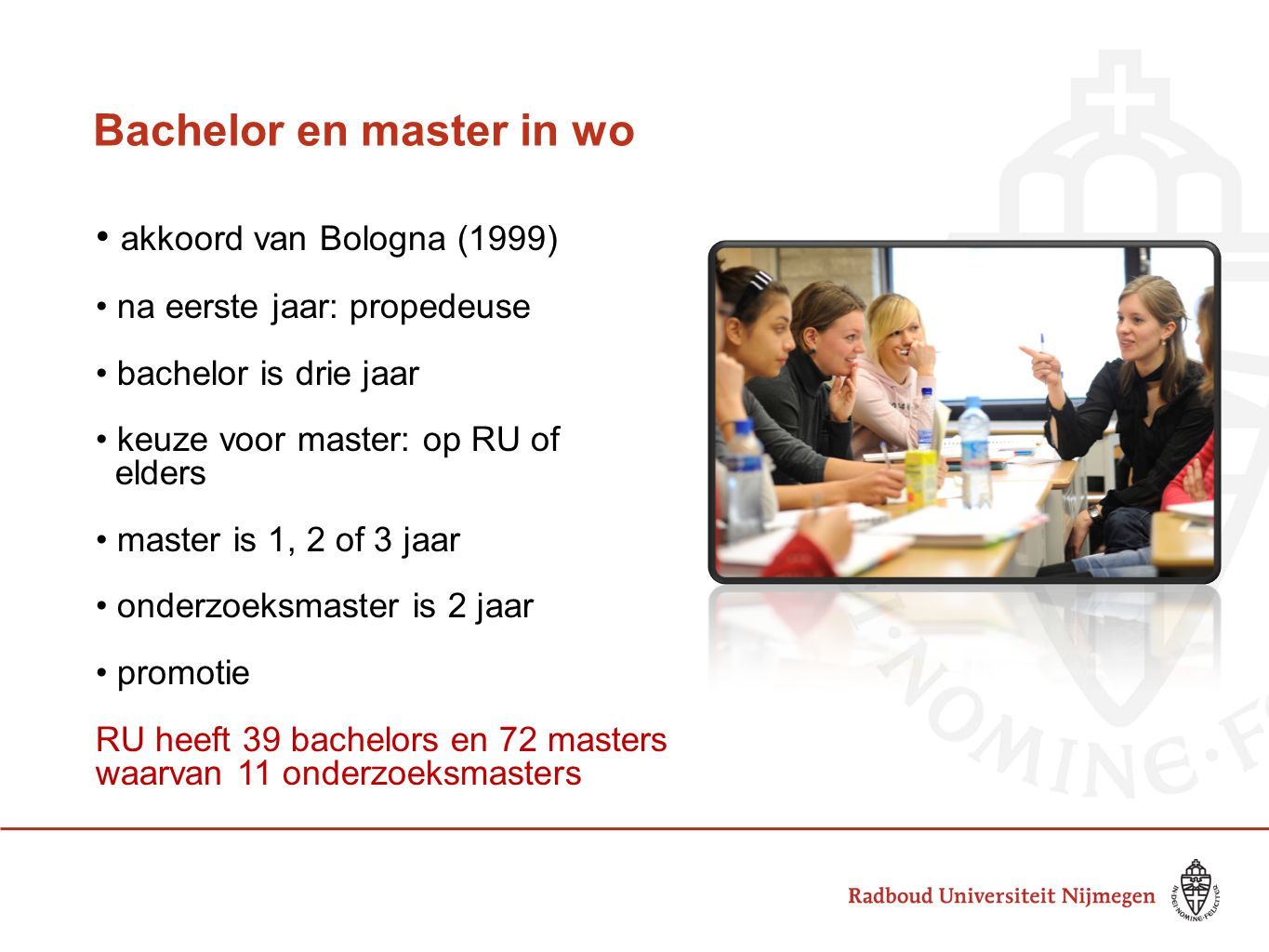 Bachelor en master in wo