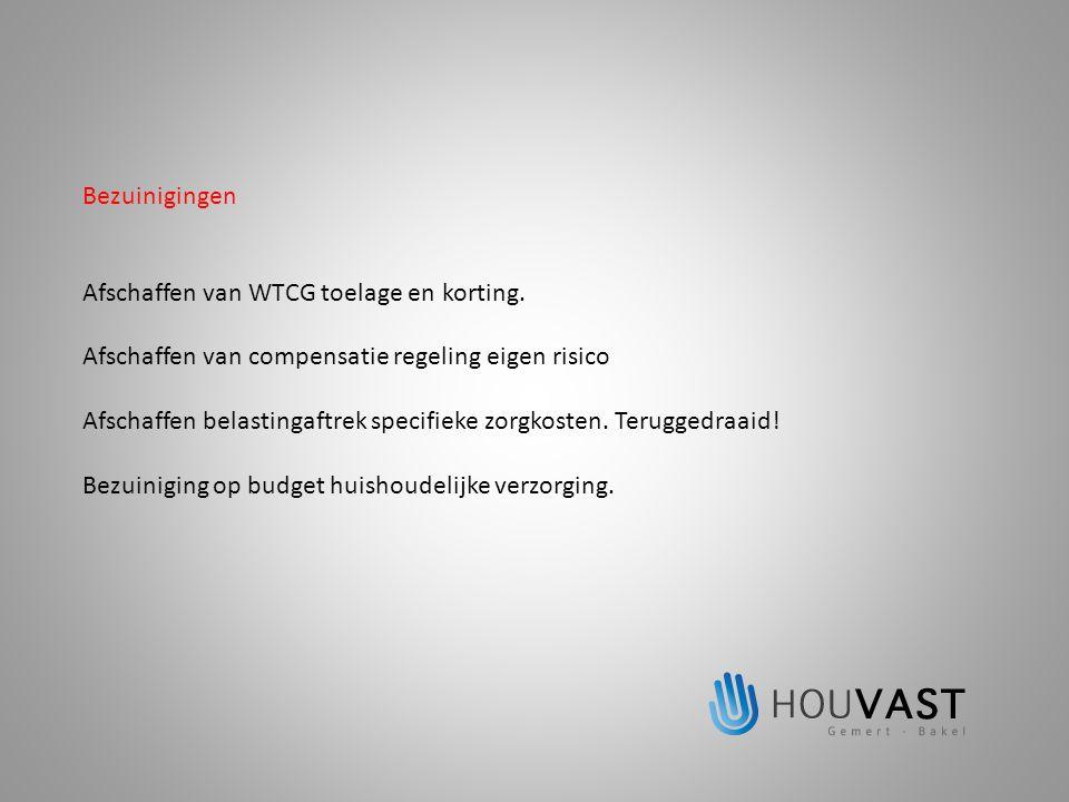 Bezuinigingen Afschaffen van WTCG toelage en korting. Afschaffen van compensatie regeling eigen risico.