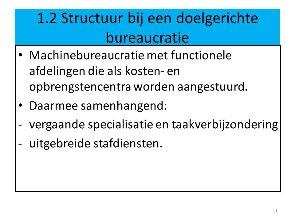 1.2 Structuur bij een doelgerichte bureaucratie
