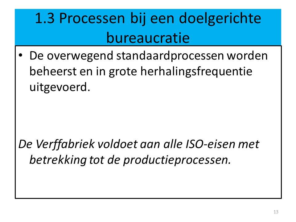 1.3 Processen bij een doelgerichte bureaucratie