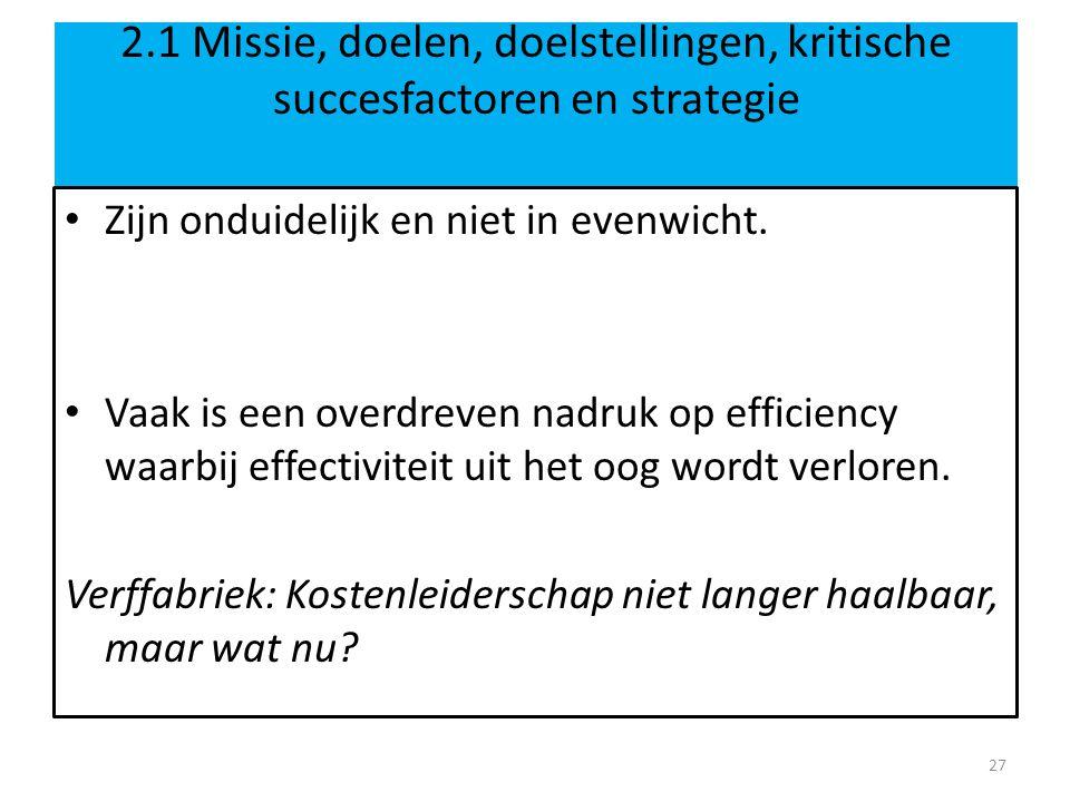 2.1 Missie, doelen, doelstellingen, kritische succesfactoren en strategie