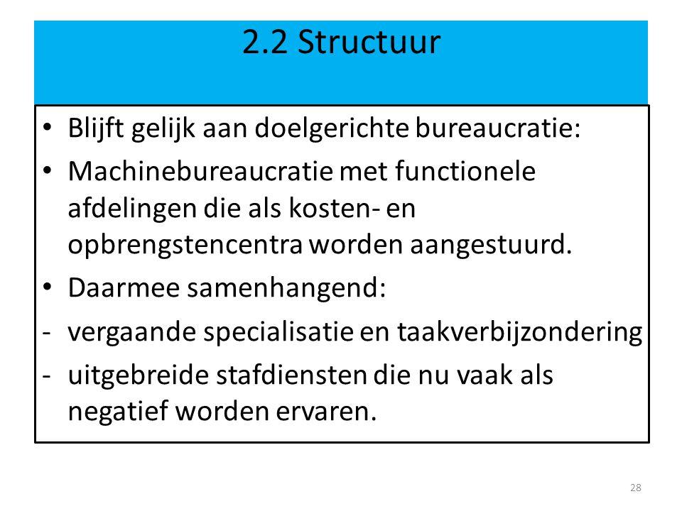 2.2 Structuur Blijft gelijk aan doelgerichte bureaucratie: