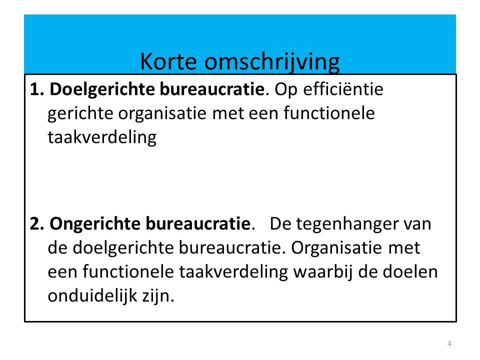 Korte omschrijving 1. Doelgerichte bureaucratie. Op efficiëntie gerichte organisatie met een functionele taakverdeling.