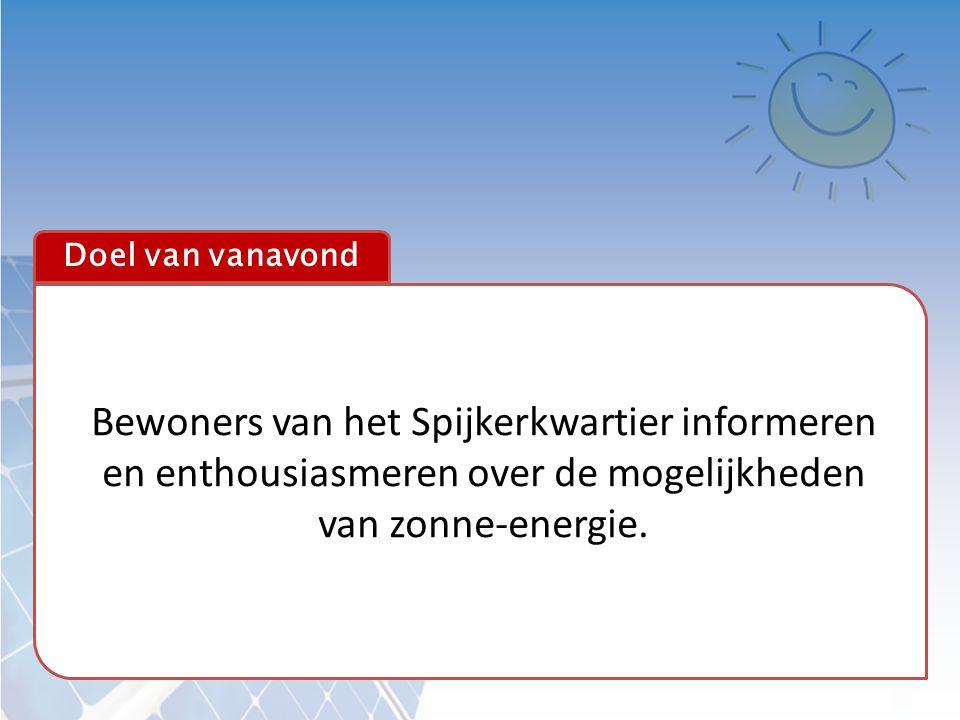 Doel van vanavond Bewoners van het Spijkerkwartier informeren en enthousiasmeren over de mogelijkheden van zonne-energie.