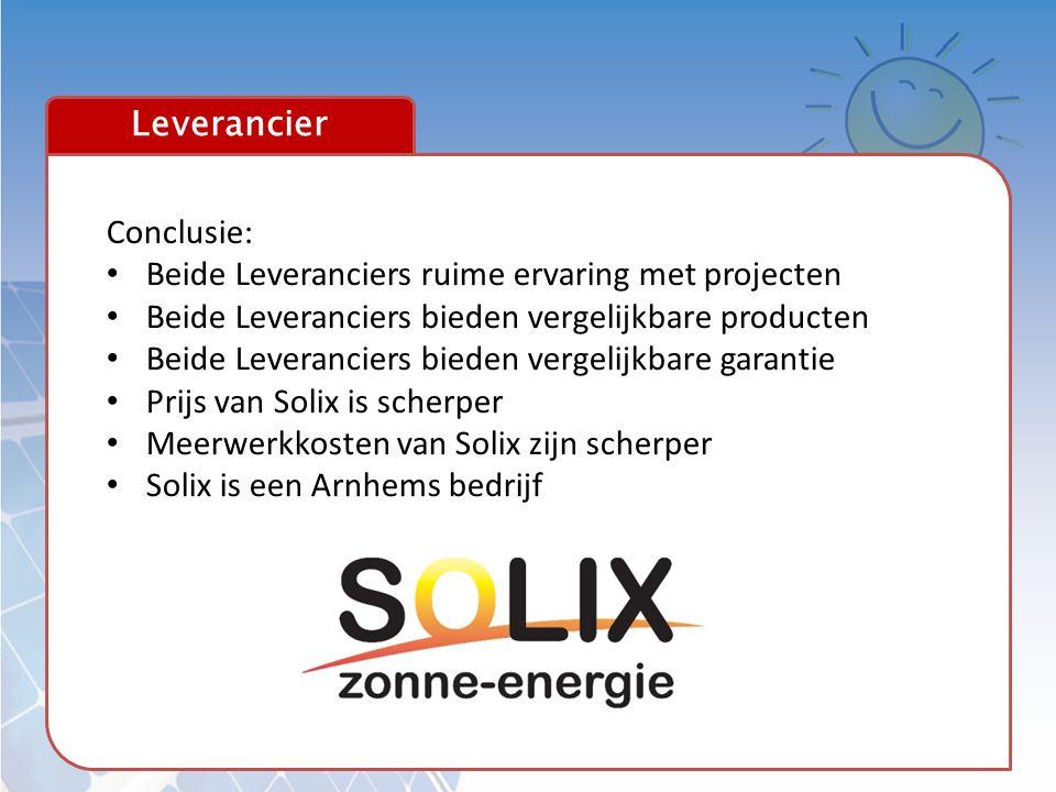 Leverancier Conclusie: Beide Leveranciers ruime ervaring met projecten. Beide Leveranciers bieden vergelijkbare producten.