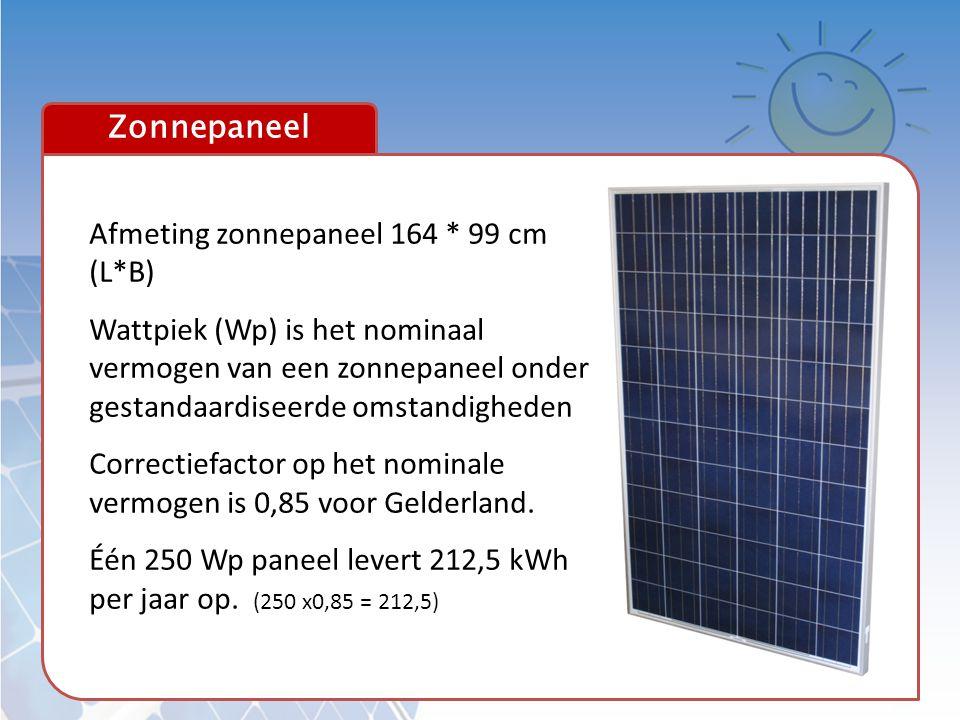 Afmeting zonnepaneel 164 * 99 cm (L*B)