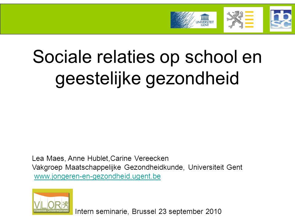 Sociale relaties op school en geestelijke gezondheid