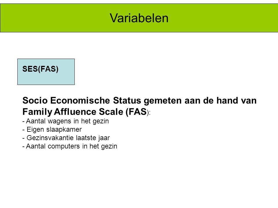 Variabelen Socio Economische Status gemeten aan de hand van