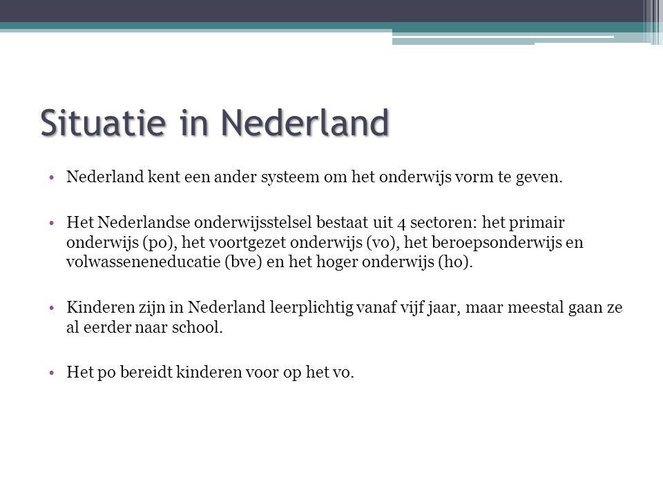 Situatie in Nederland Nederland kent een ander systeem om het onderwijs vorm te geven.