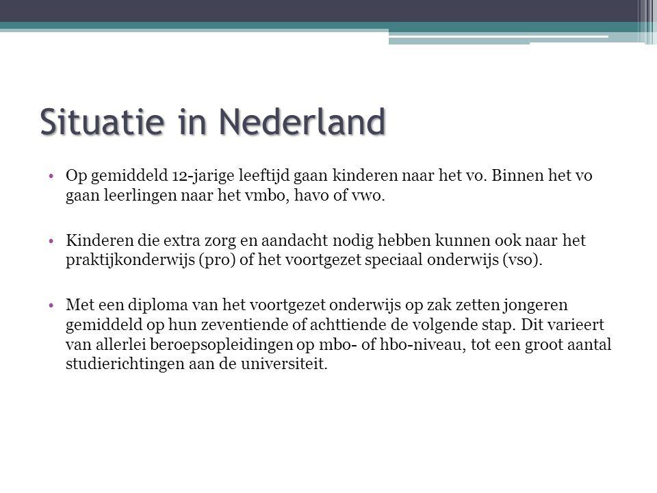 Situatie in Nederland Op gemiddeld 12-jarige leeftijd gaan kinderen naar het vo. Binnen het vo gaan leerlingen naar het vmbo, havo of vwo.