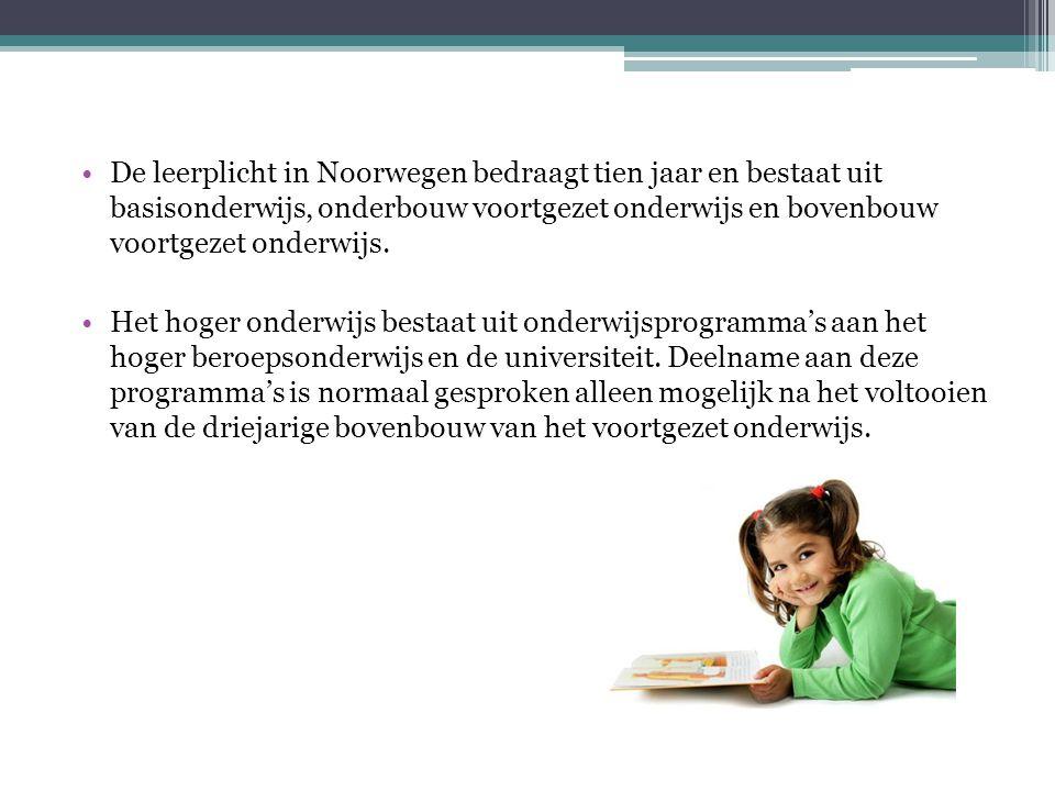 De leerplicht in Noorwegen bedraagt tien jaar en bestaat uit basisonderwijs, onderbouw voortgezet onderwijs en bovenbouw voortgezet onderwijs.