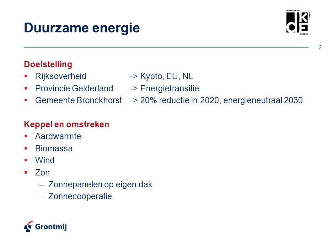 Duurzame energie Doelstelling Rijksoverheid -> Kyoto, EU, NL