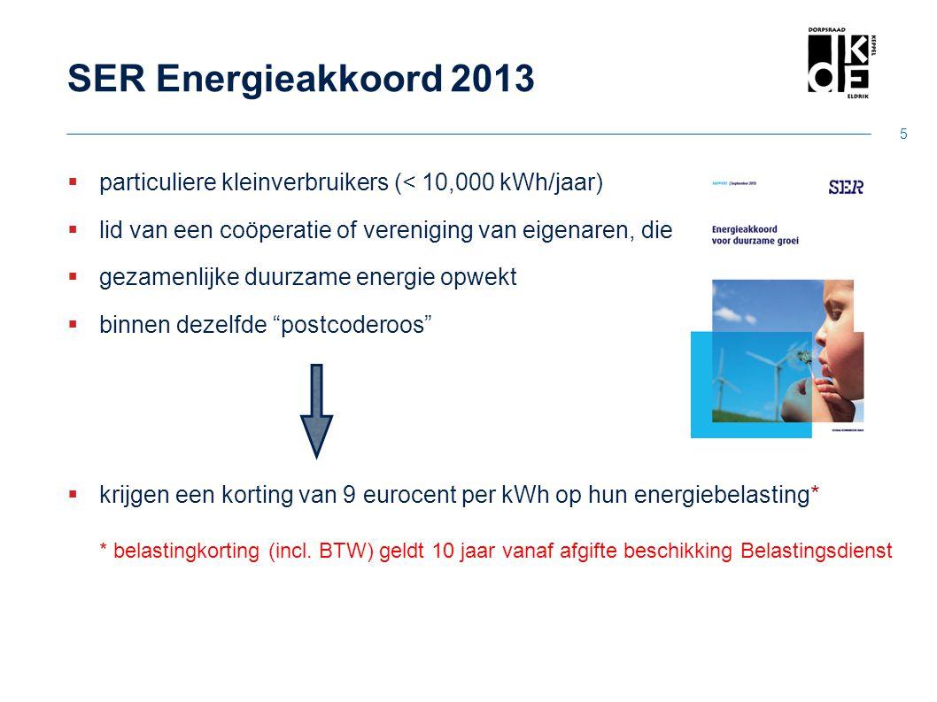 SER Energieakkoord 2013 particuliere kleinverbruikers (< 10,000 kWh/jaar) lid van een coöperatie of vereniging van eigenaren, die.