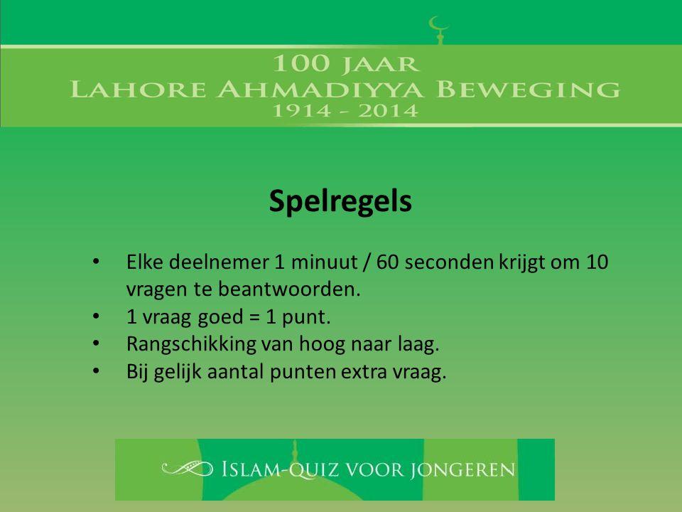 Spelregels Elke deelnemer 1 minuut / 60 seconden krijgt om 10