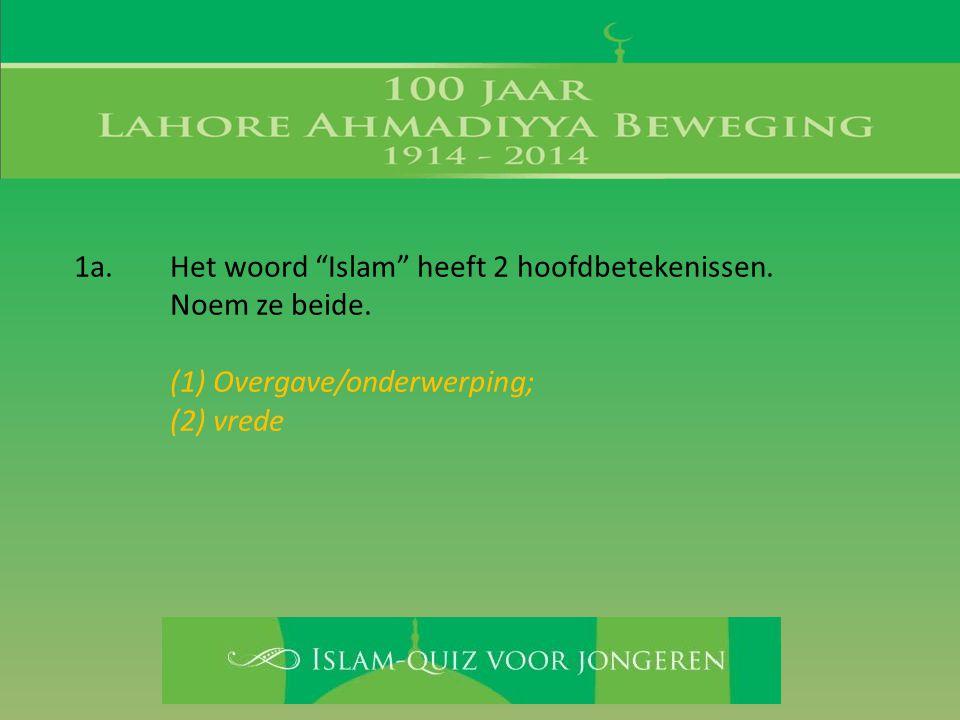 1a. Het woord Islam heeft 2 hoofdbetekenissen.