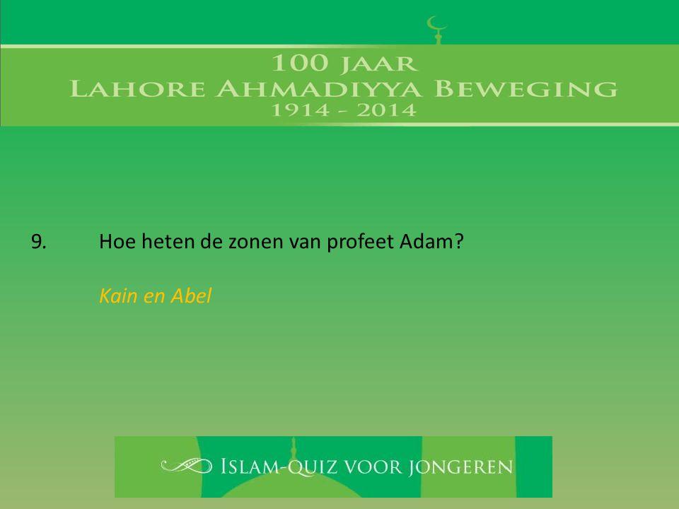 9. Hoe heten de zonen van profeet Adam