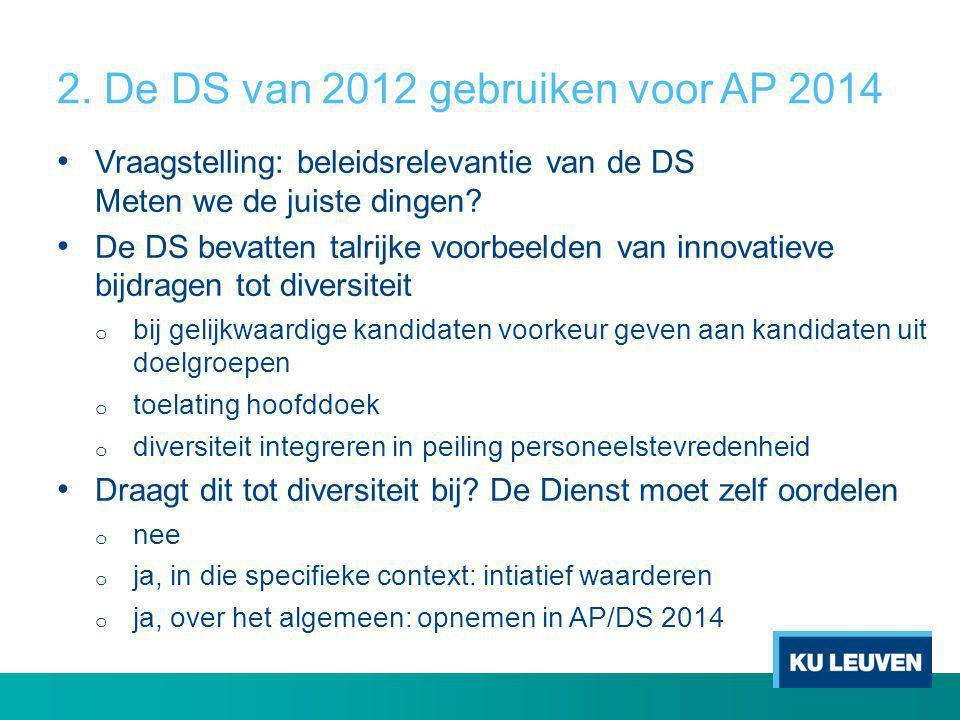 2. De DS van 2012 gebruiken voor AP 2014