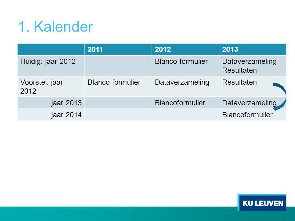 1. Kalender 2011 2012 2013 Huidig: jaar 2012 Blanco formulier