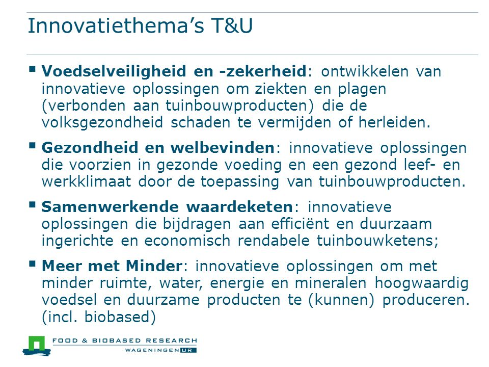 Innovatiethema's T&U