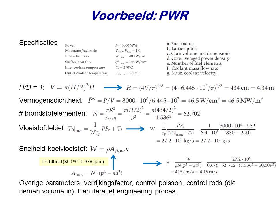 Voorbeeld: PWR Specificaties H/D = 1: Vermogensdichtheid: