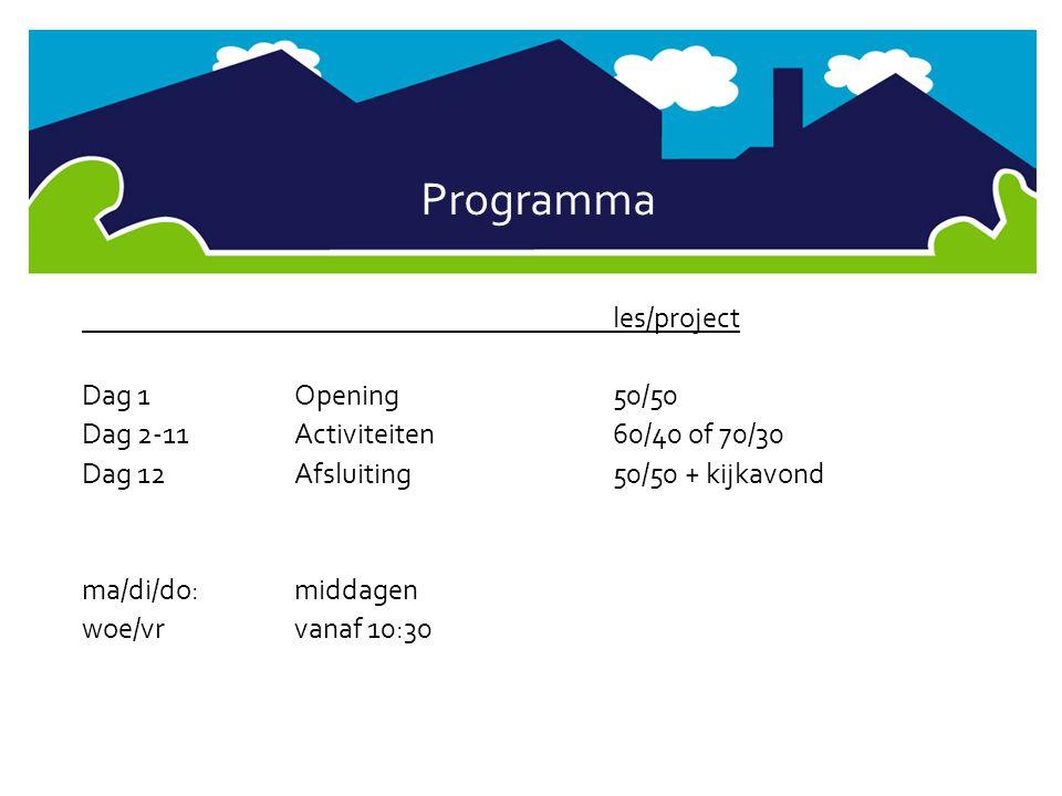 Programma les/project Dag 1 Opening 50/50