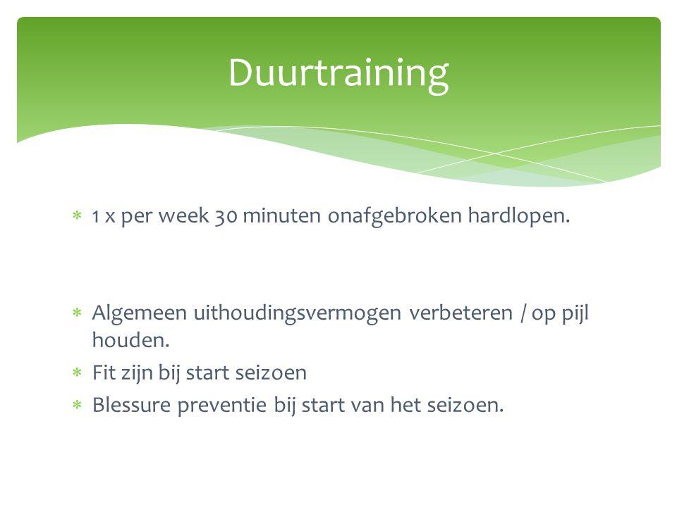Duurtraining 1 x per week 30 minuten onafgebroken hardlopen.
