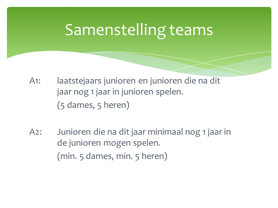 Samenstelling teams