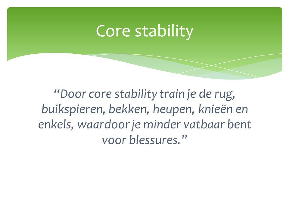 Core stability Door core stability train je de rug, buikspieren, bekken, heupen, knieën en enkels, waardoor je minder vatbaar bent voor blessures.