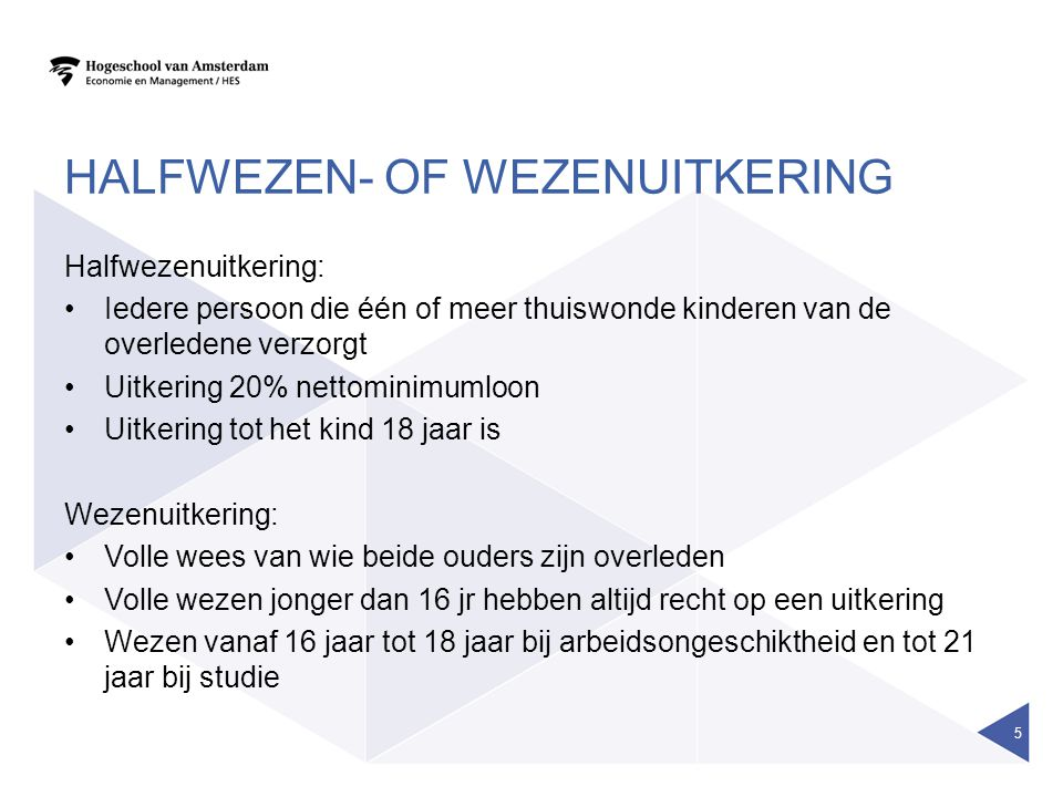 Halfwezen- of wezenuitkering