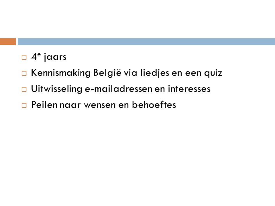 4e jaars Kennismaking België via liedjes en een quiz.