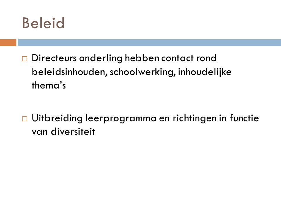 Beleid Directeurs onderling hebben contact rond beleidsinhouden, schoolwerking, inhoudelijke thema's.