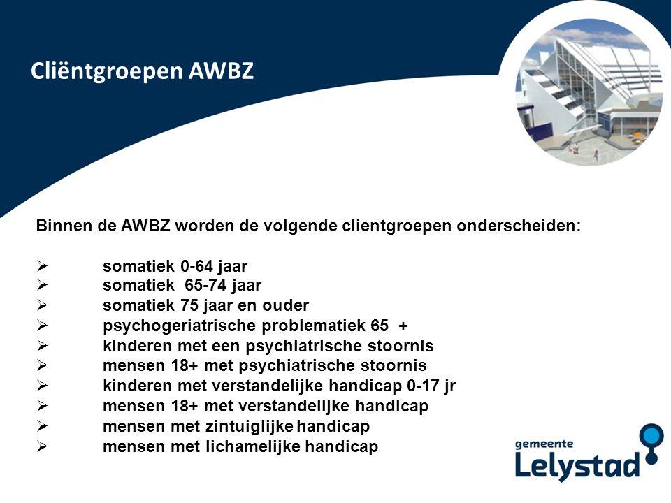 Cliëntgroepen AWBZ Binnen de AWBZ worden de volgende clientgroepen onderscheiden: somatiek 0-64 jaar.