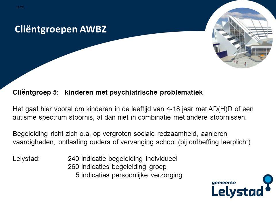 is zo. . Cliëntgroepen AWBZ. Cliëntgroep 5: kinderen met psychiatrische problematiek.