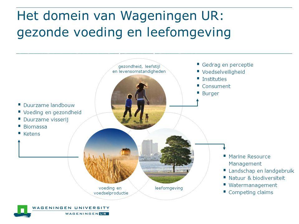 Het domein van Wageningen UR: gezonde voeding en leefomgevingHet domein van Wageningen UR: gezonde voeding en leefomgeving