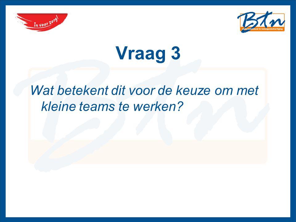 Vraag 3 Wat betekent dit voor de keuze om met kleine teams te werken