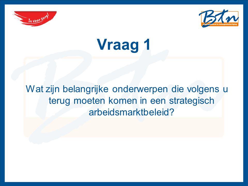 Vraag 1 Wat zijn belangrijke onderwerpen die volgens u terug moeten komen in een strategisch arbeidsmarktbeleid