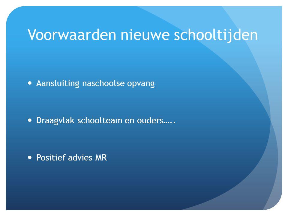 Voorwaarden nieuwe schooltijden