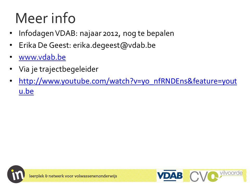 Meer info Infodagen VDAB: najaar 2012, nog te bepalen