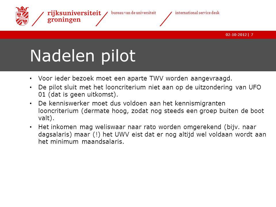 Nadelen pilot Voor ieder bezoek moet een aparte TWV worden aangevraagd.