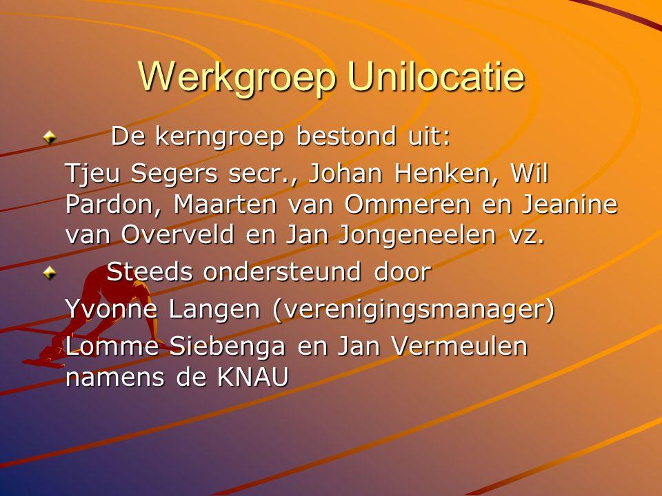 Werkgroep Unilocatie De kerngroep bestond uit: