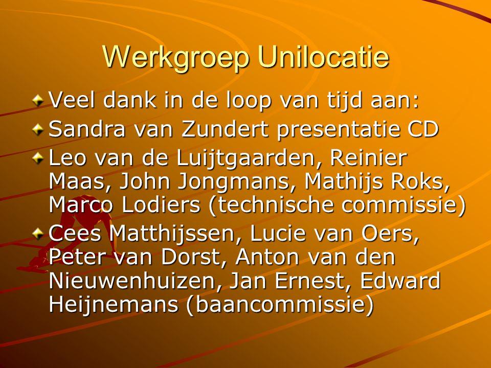 Werkgroep Unilocatie Veel dank in de loop van tijd aan: