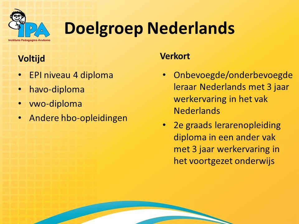 Doelgroep Nederlands Verkort Voltijd EPI niveau 4 diploma havo-diploma