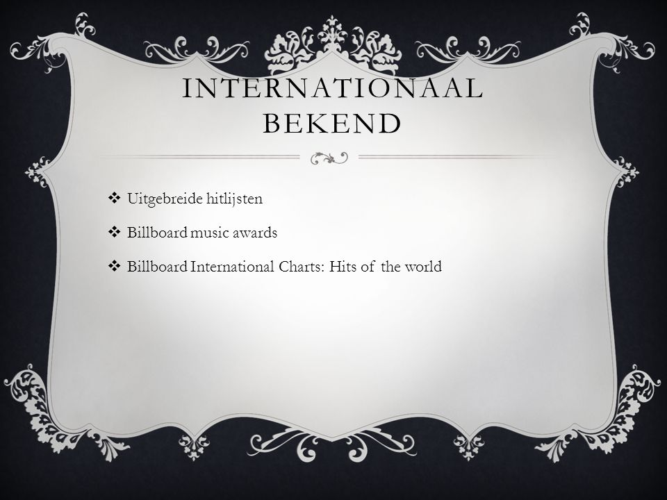 Internationaal bekend