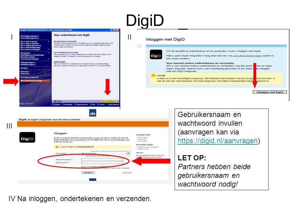 DigiD I II Gebruikersnaam en wachtwoord invullen
