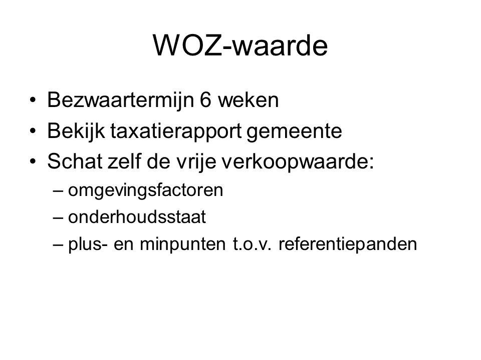 WOZ-waarde Bezwaartermijn 6 weken Bekijk taxatierapport gemeente