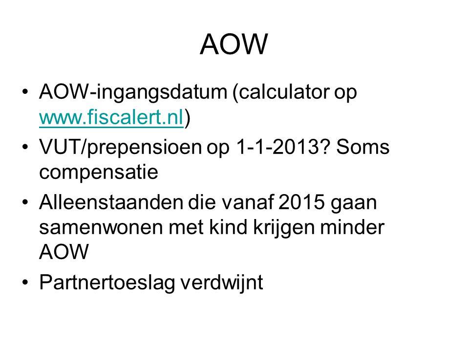 AOW AOW-ingangsdatum (calculator op www.fiscalert.nl)