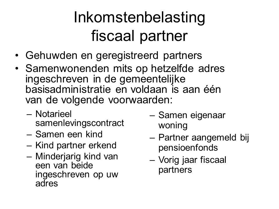 Inkomstenbelasting fiscaal partner