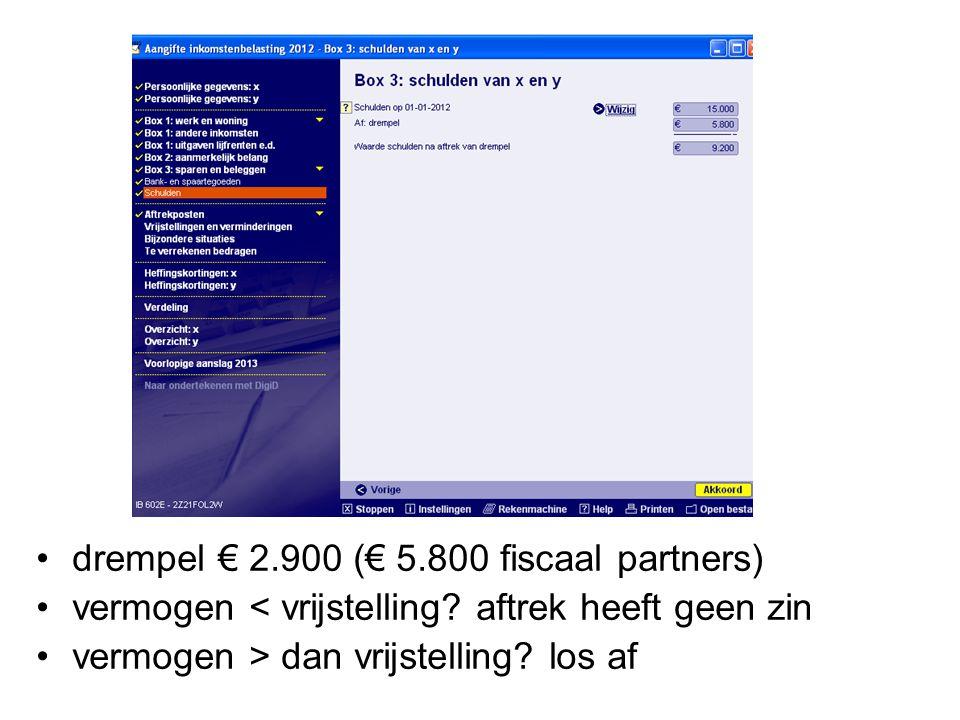 drempel € 2.900 (€ 5.800 fiscaal partners)