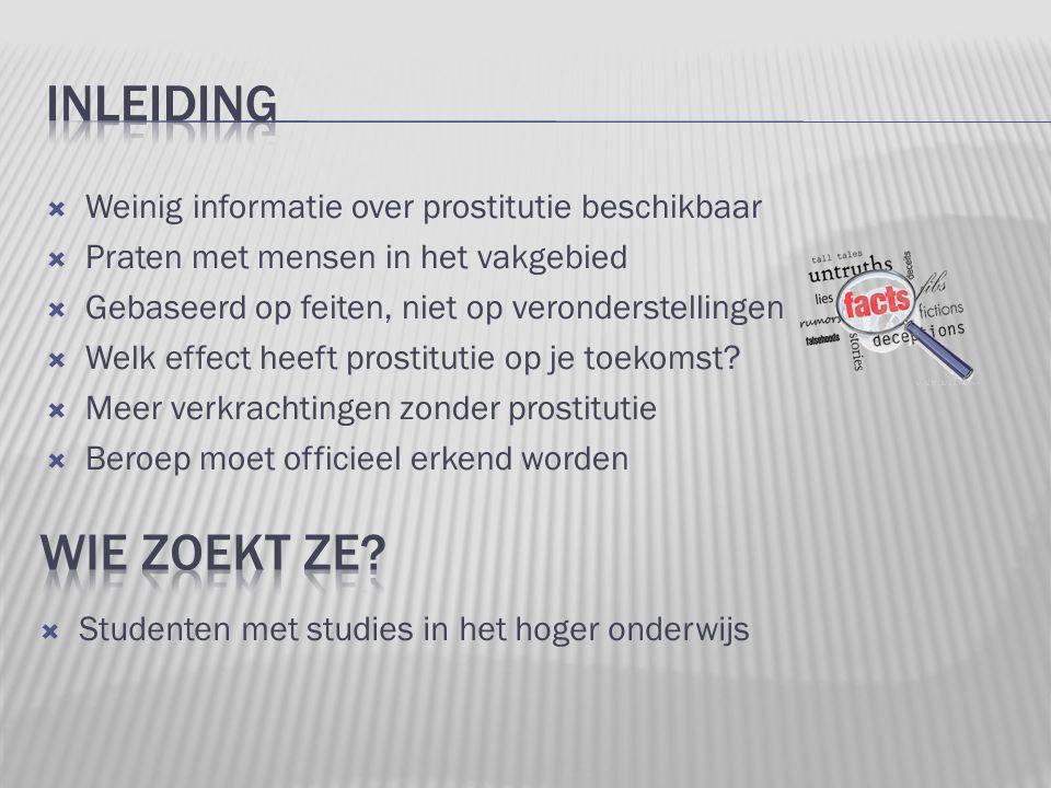 Inleiding Wie zoekt ze Weinig informatie over prostitutie beschikbaar
