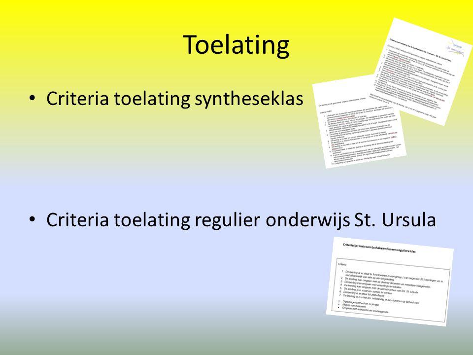 Toelating Criteria toelating syntheseklas
